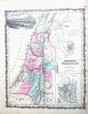 1862 Original Johnson's Map of Palestine. Includes the Land that is now Israel