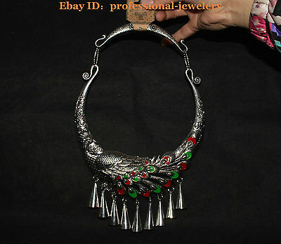 China Old antique Guizhou Miao Silver Handmade Emerald Phoenix peacock Necklaces