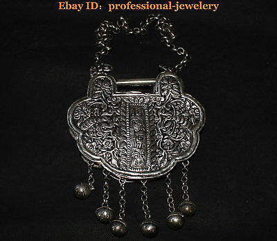 China Old antique Guizhou Miao Silver Handmade Lucky Longevity Lock Necklaces