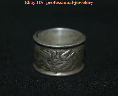 China Old antique Guizhou Miao Silver Handmade Evil Dragon Phoenix finger Ring
