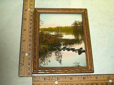 Vintage Framed Hand Colored Watercolor Painted Photograph By Neville