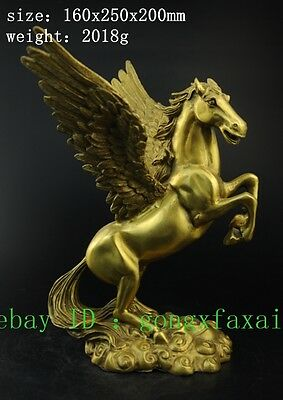 Chinese FengShui Brass Myth Auspicious Success Wings Fly Horse Pegasus Statue KK