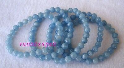 Natural Aquamarine Round Beads Stretch Bracelet 7mm