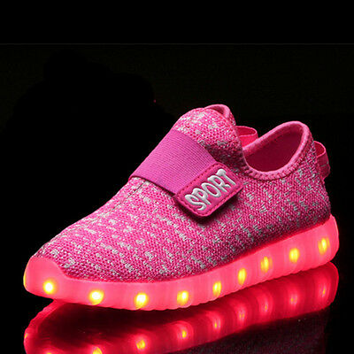 US STOCK Boys Girls Running shoes Luminous Sneakers LED Light Up Kids Shoes Pink