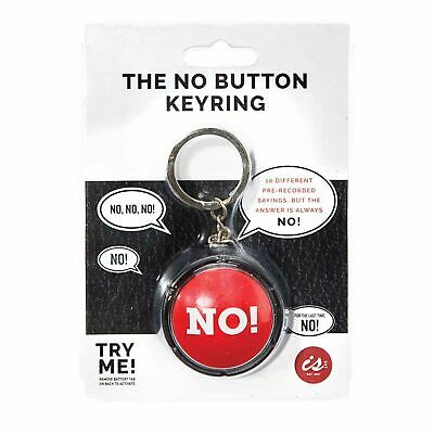 THE NO! BUTTON Keyring  - Big Red Novelty Noise Slam Prank Office Button **NEW**