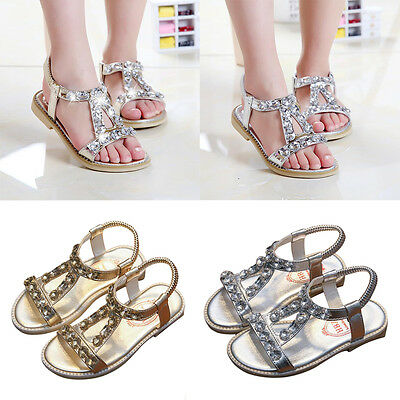 Girls Kids Comfortable Rhinestone Flat Casual Dress Sandals Shoes Ankle Strap