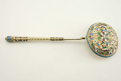Antique Imperial Russian Gilded 84 Silver Enamel Spoon Moscow 1899-1908