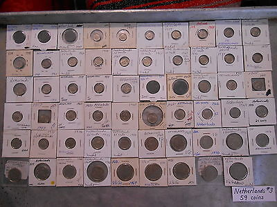 World Coin Lot: 59 Different Foreign Coins from the Netherlands (Netherlands #3)