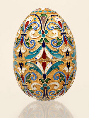 Antique Imperial Russian Gilded 88 Silver Cloisonne Enamel Egg 1899-1908