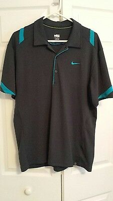 Men's Nike Dri Fit Tennis Short Sleeve Polo Shirt Size XL Gray Blue Trim