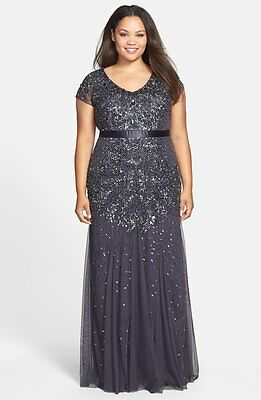 74a0b11aefd  330+ ADRIANNA PAPELL CAP SLEEVE Beaded V-Neck Gown GUNMETAL PROM WEDDING  PLUS
