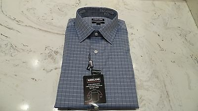 New Kirkland Men's 100% Cotton Button Down Dress Shirt 16.5 32/33 Tailored Fit
