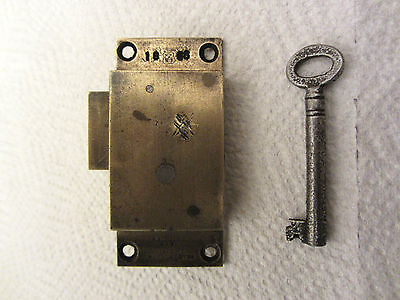 Vintage antique 2 lever solid brass cabinet lock cupboard lock with working key