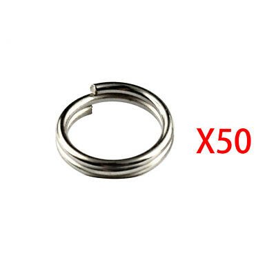50Pcs 5MM Stainless Steel Split Ring Assortment Assorted Rings Fishing Tackle