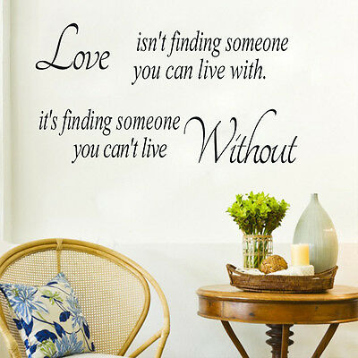 Removable Quote Love Without Wall Stickers Vinyl Decal DIY Home Room Decor Art