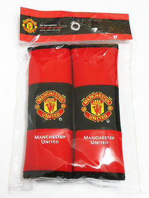 Manchester United Car Accessory 1 Pair of Seat Belt Shoulder Pad Covers #Red