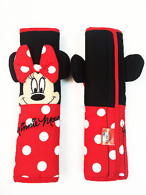 Minnie Mouse Car Accessory #Red : 2 Seat Belt Shoulder Pad Covers