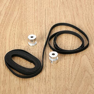2M 6.6ft 2GT GT2 Timing Belt 6mm width & 2PCS Pulley for 3D Printer CNC RepRap