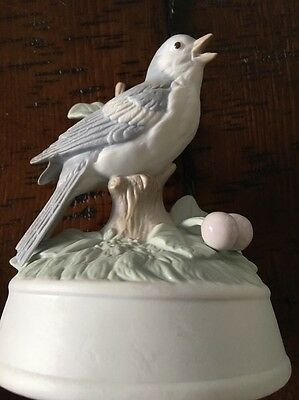 Vintage Blue Bird Porcelain Figurine Musical Crowning Touch What Child Is This