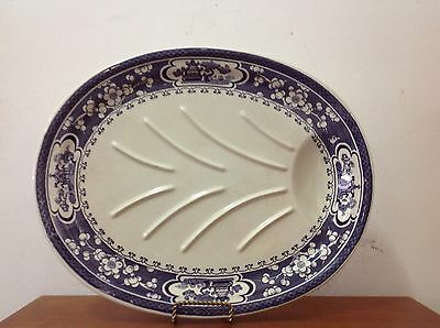 Maling Roast Platter With Dripping Well (Oriental Blue And White Design)
