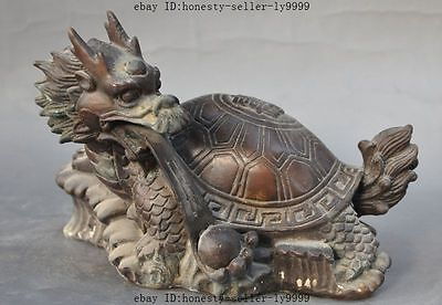 """8"""" old chinese fengshui bronze dragon turtle Tortoise play bead lucky statue"""