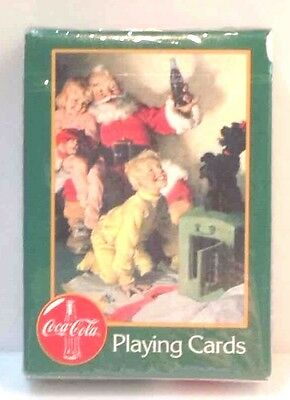 1996 Coca Cola Coke Playing Cards Christmas, Santa & Children w/ Puppy, New