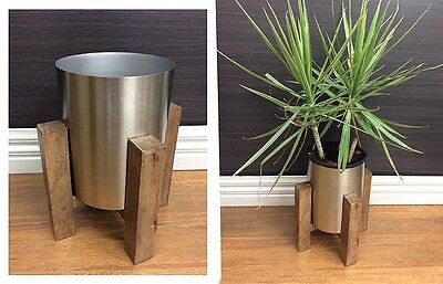 George Planter W/ Timber Stand Pot Flower Plant Holder Outdoor Silver