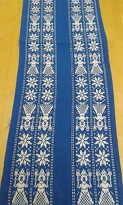 Blue Swedish cotton table runner with embroidered Nordic scene