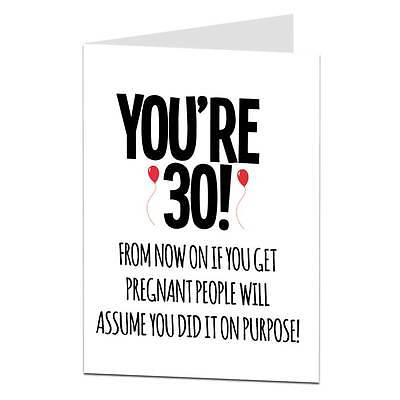 30th Birthday Card 30 Thirty Today For Her Women Best Friend Pregnant Joke Funny