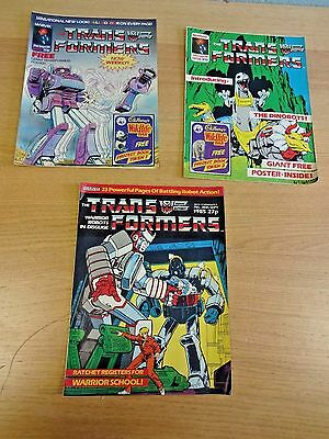 THE TRANSFORMERS  MARVEL COMICS issues #26, #27 &  #28 1985