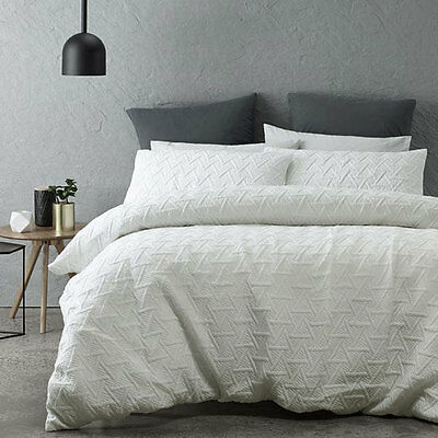 Bowen White Quilted Duvet Doona Quilt Cover Set Queen King Bed Size by Phase 2