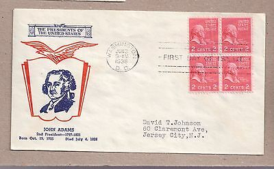Usa Fdc John Adams 2Nd President 2¢ Stamps 1938