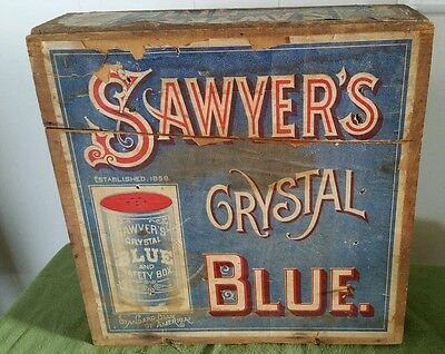 Very Rare Old ANTIQUE  SAWYER'S CRYSTAL BLUE WOOD SHIPPING BOX W/ FRONT LABEL