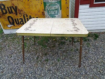 Vintage Mid Century Kitchen Table Formica Brown Flower Farm Country
