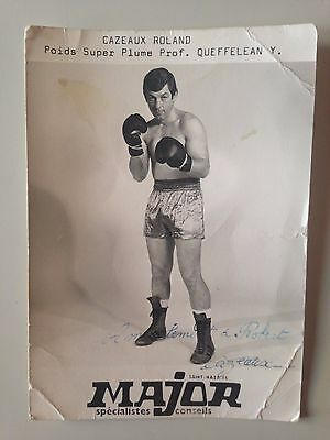 Rare Carte Photo Major Saint Nazaire // Boxe - Roland Cazeaux - Dedicace