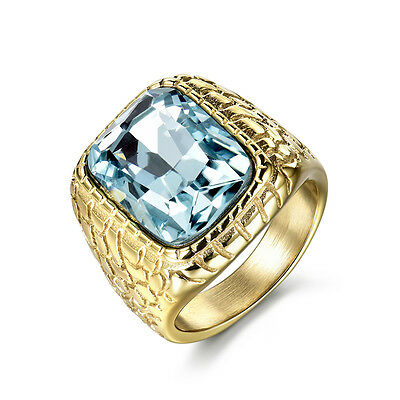 Western Faux Sapphire Gold Ring Stainless Steel Size 8-12 Metal Men's Jewellery