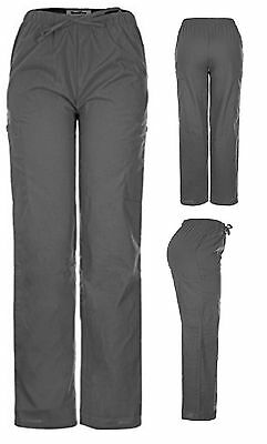Men Women Solid Scrub Pants GREY Size XS, 2 Side Pockets 2 Cargo Pocket Uniforms