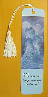 #B2 VINTAGE BRAND NEW 3 Dolphins Bookmark with Tassel