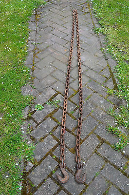4.2 m Vintage old Rusty Iron chain with Hooks Industrial prop