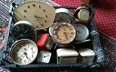 Large Collection Of Vintage Traveling Alarm Clocks