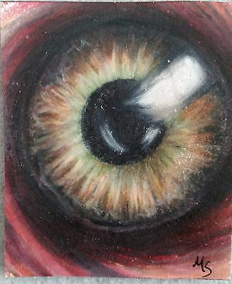 ACEO MS Original Drawing Surreal Eye Colored Pencil Art Card