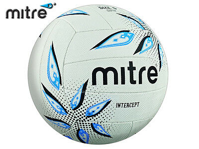 *brand New* Mitre 2017-18 - Intercept Training Netball - White/black/cyan