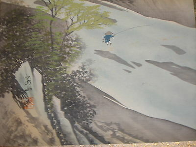 Original Japanese Scroll Child Fishing Scene-Stamped & Signed-Excellent