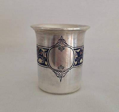 Antique 925 Silver Dram Beaker with Engraved Enamel Possibly David Andersen