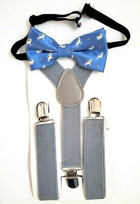 Baby/Toddler/Young Boy's Adorable Christmas Reindeer Bow Tie- Medium Blue Style