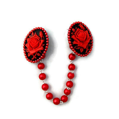 Red and Black Rose Cameo Sweater Clip With Red Pearls, Sweater Guard, Cardigan