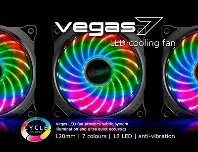 Akasa Vegas 7, 120mm 12cm 18 x Led Ultra Quiet PC Case Fan, 41.9 CFM, 3 Pin