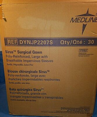 Case of 30 Medline Sirus Poly-Reinforced Surgical Gowns Size Large