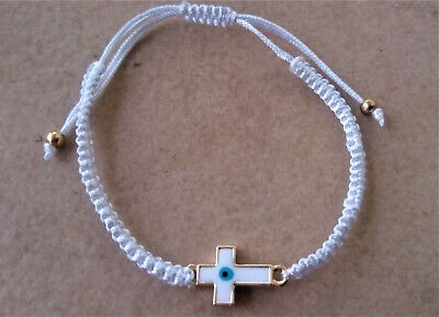 Greek Evil Eye Enamel Cross Macrame Rope Bracelet Blue Greece Cruciani Orthodox