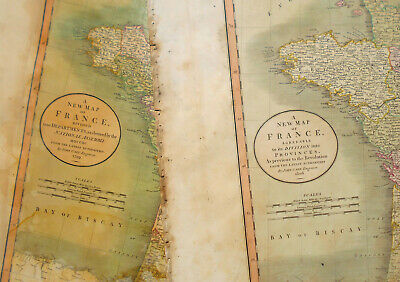 1806 Large Antique Map Chart John Cary France Europe